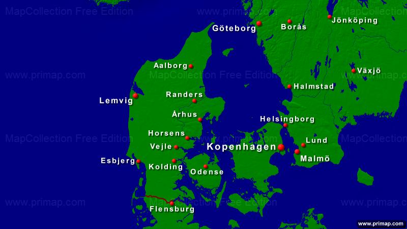 dänemark städte karte primap Länderkarten