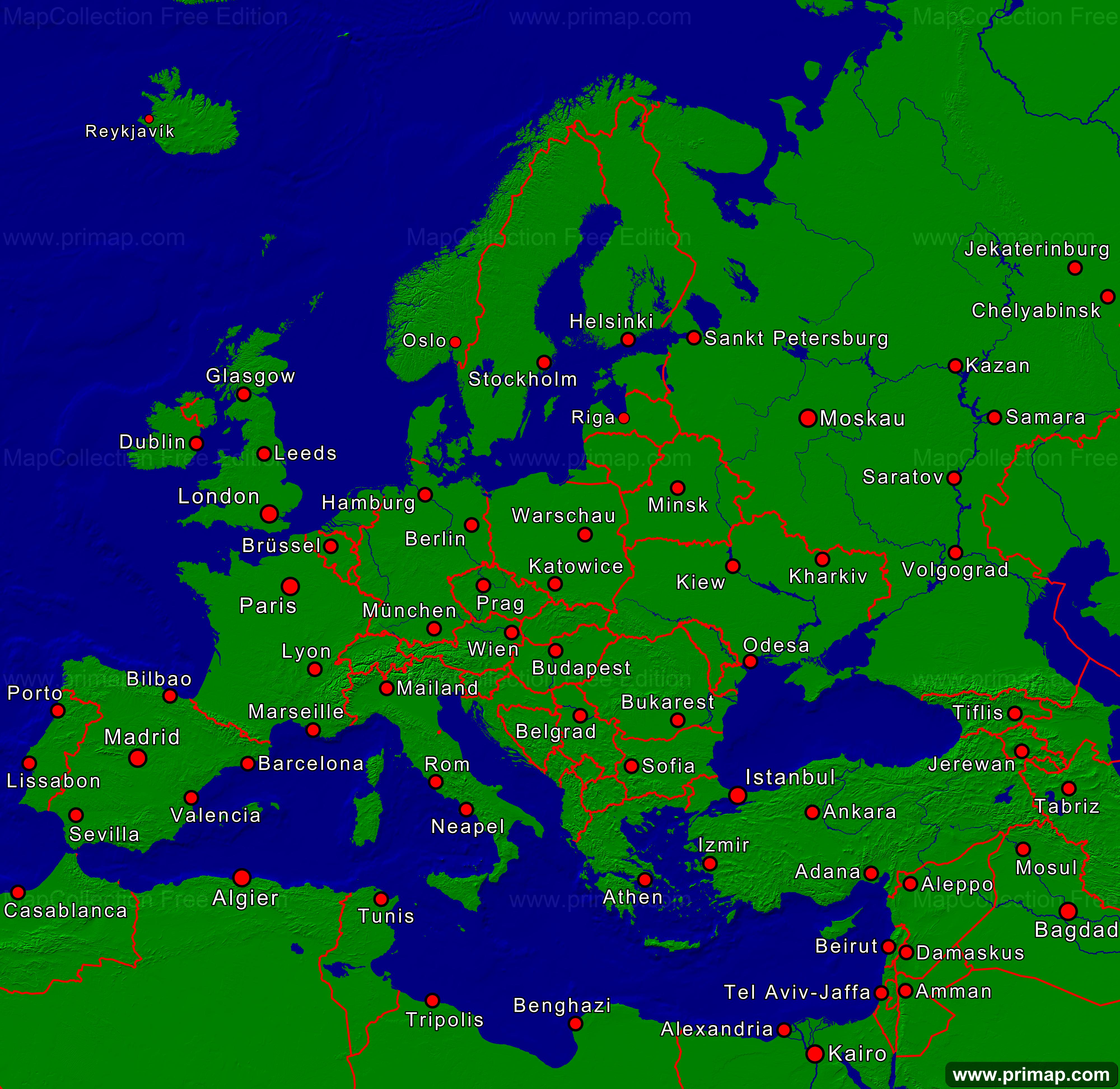 Karte Von Europa Mit Städten.Primap Kontinentalkarten