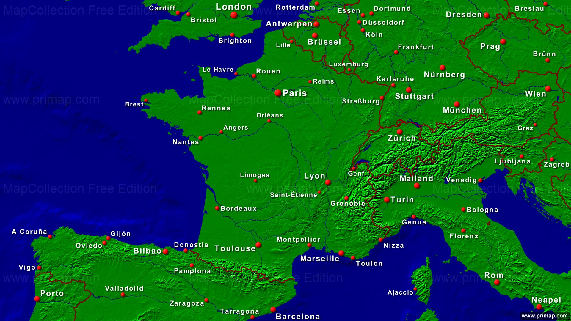 primap Länderkarten - Deutschland Und Frankreich Karte