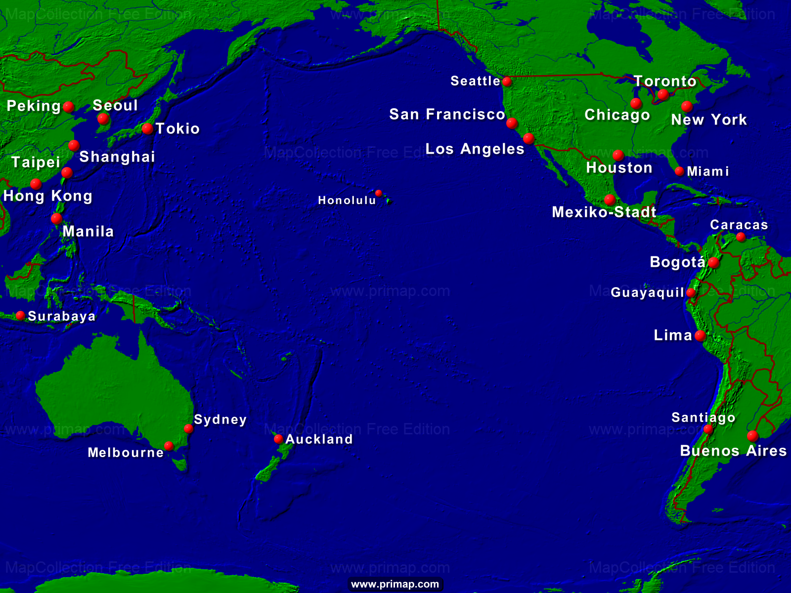 primap Seekarten Pacific Ocean Underwater Map