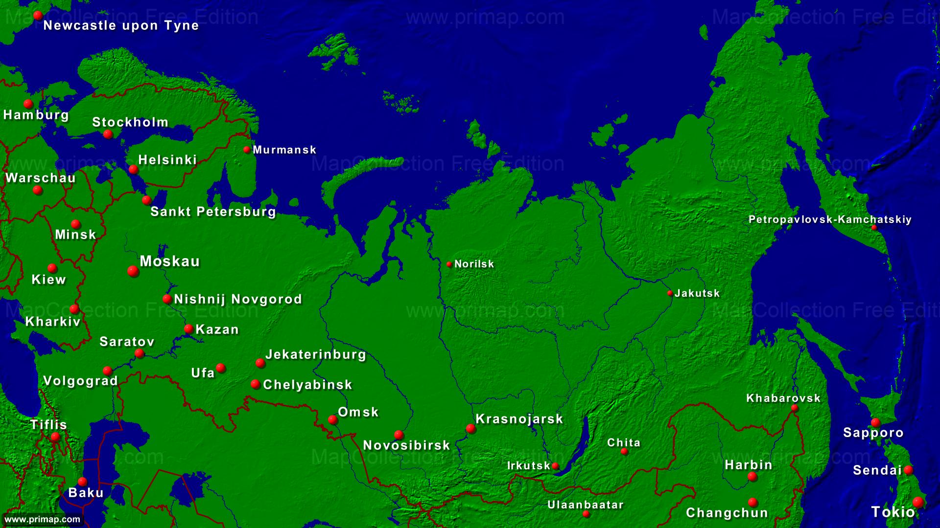Karte Russland.Primap Landerkarten