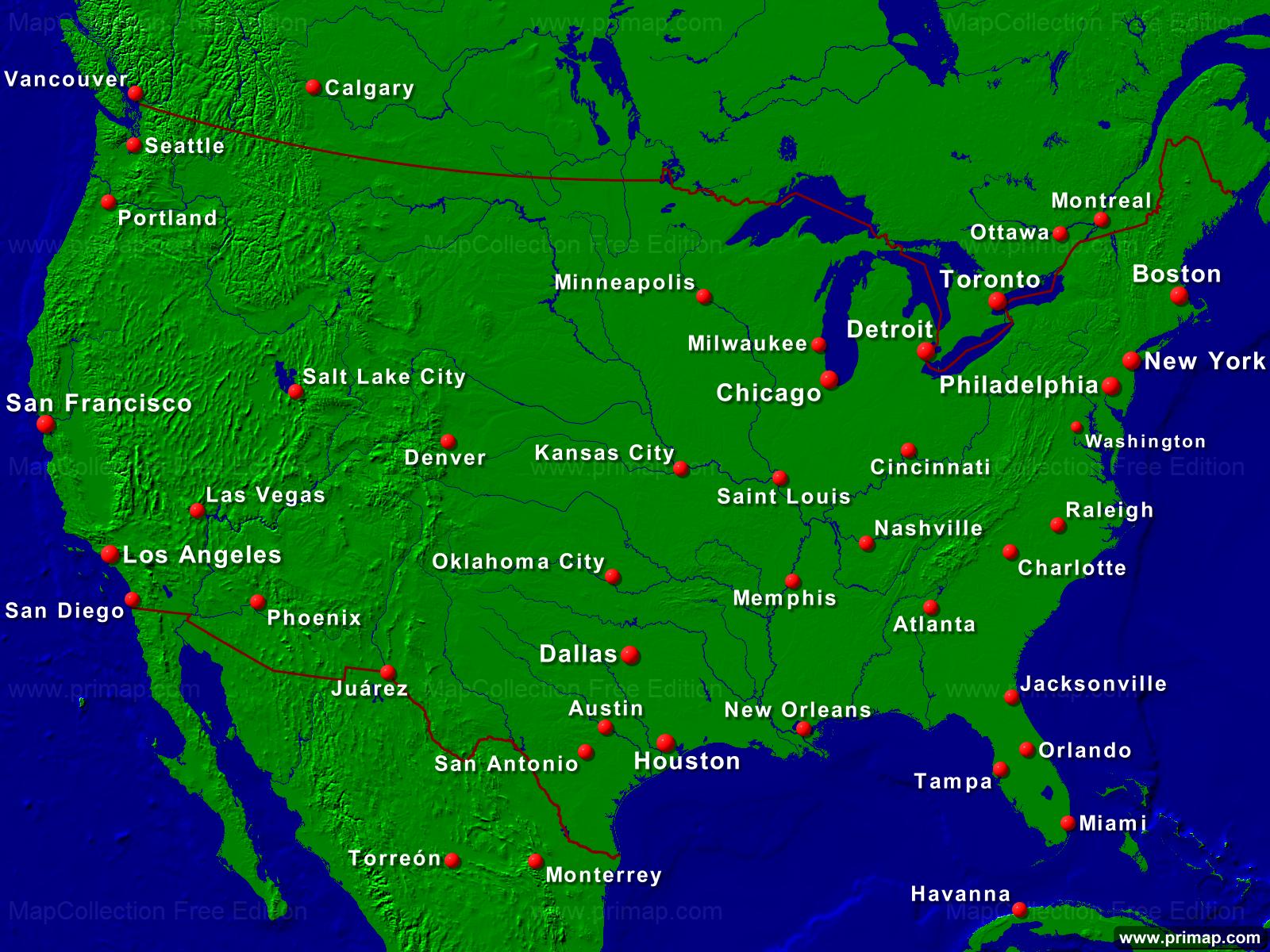 usa karte städte primap Länderkarten