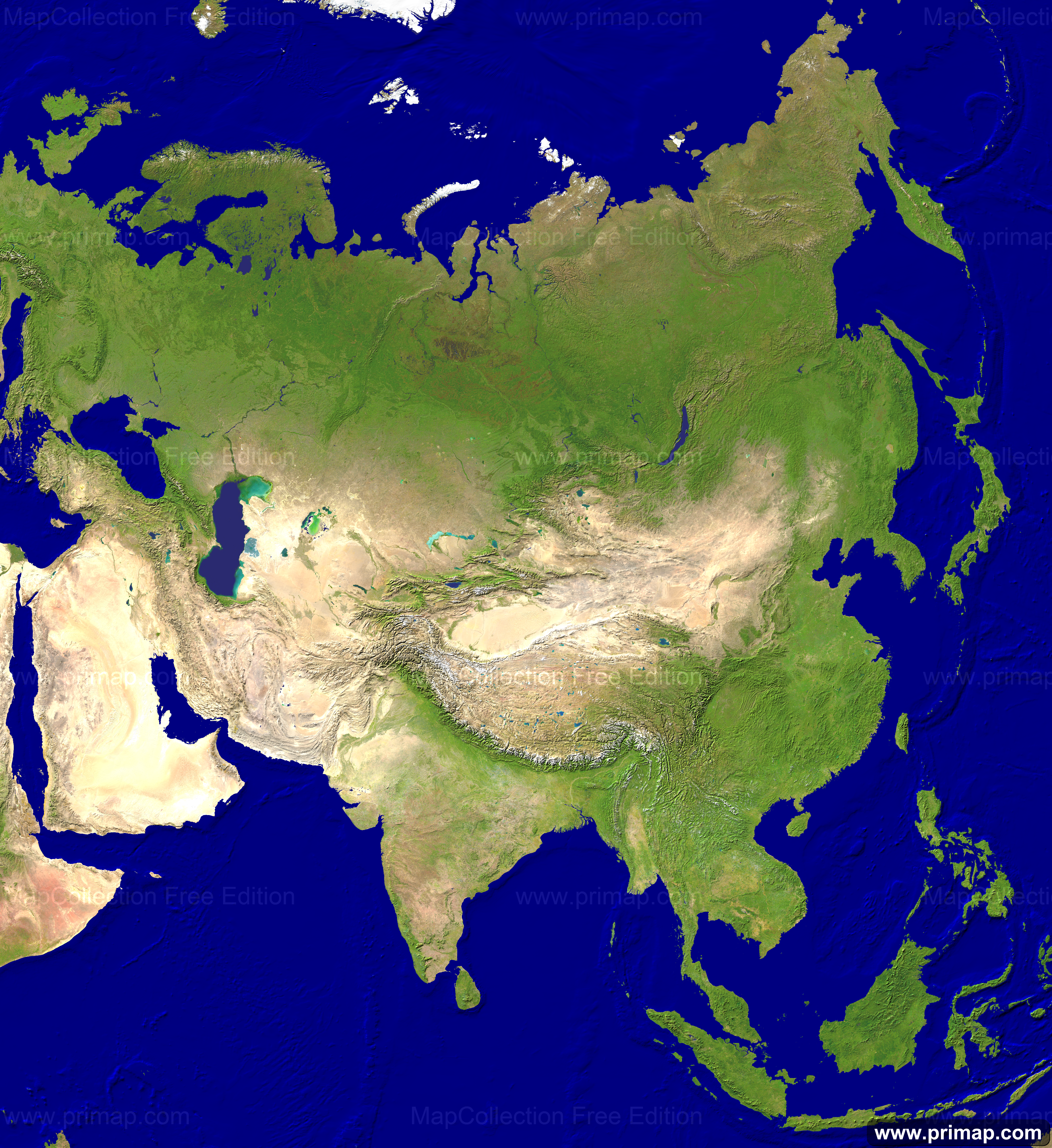 Map Asia Satellite XPNG Geography - World map by satellite