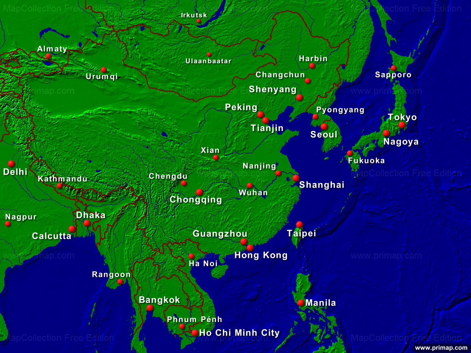 Show The Map Of Asia.Primap Continental Maps