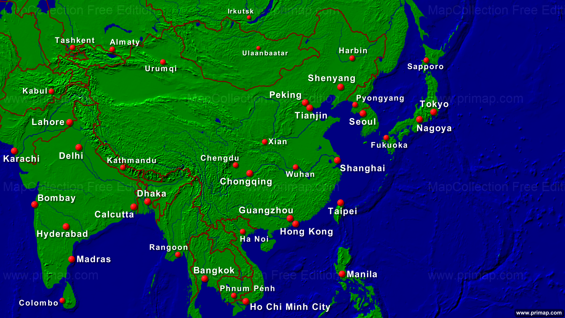 Map Of Asia Full Hd.Primap Continental Maps