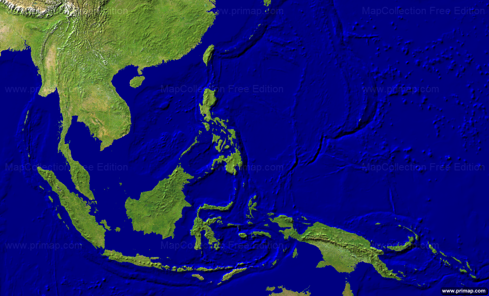 Primap Continental Maps - Asia satellite map