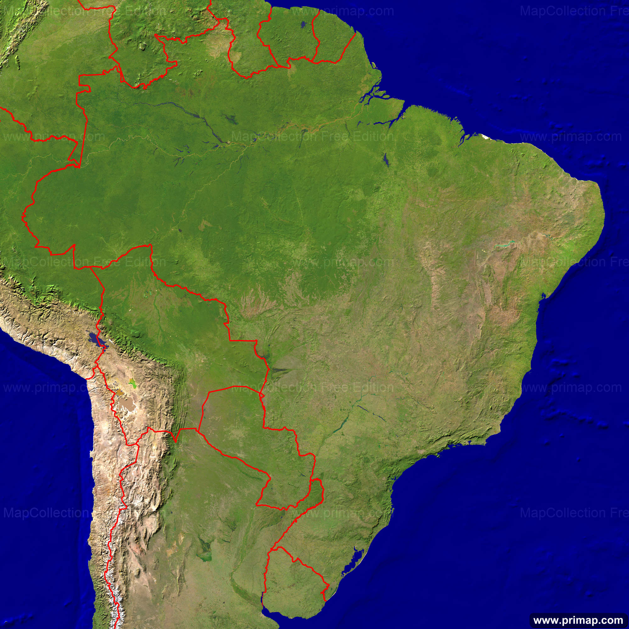 Brazil Map Satellite Image. Map Of Southern Us. Nittany Apartments ...