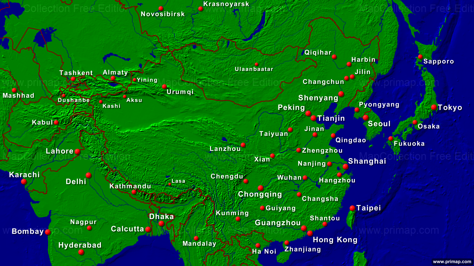 Show Map Of China.Primap National Maps