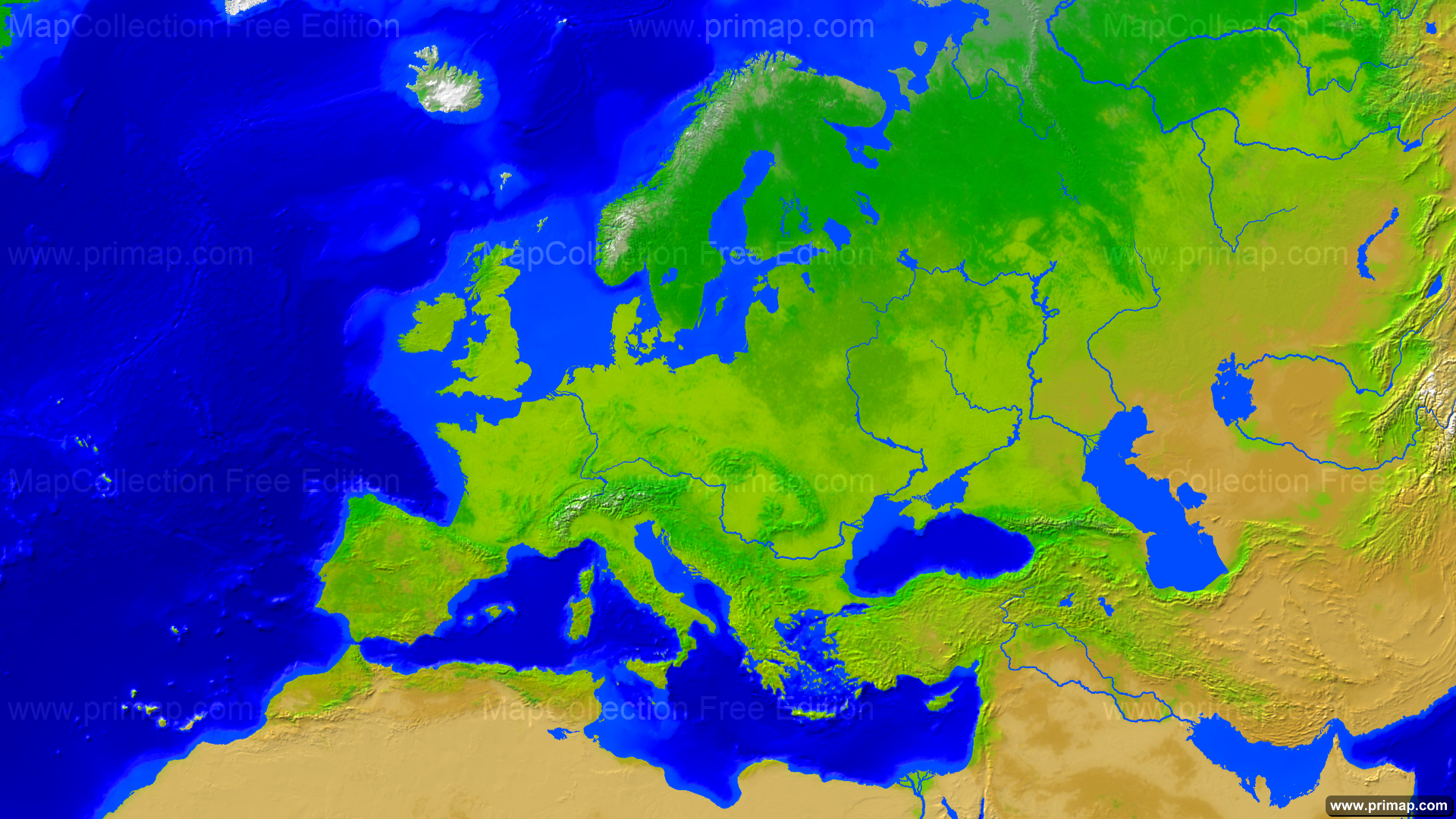 Green Map Of Europe.Primap Continental Maps