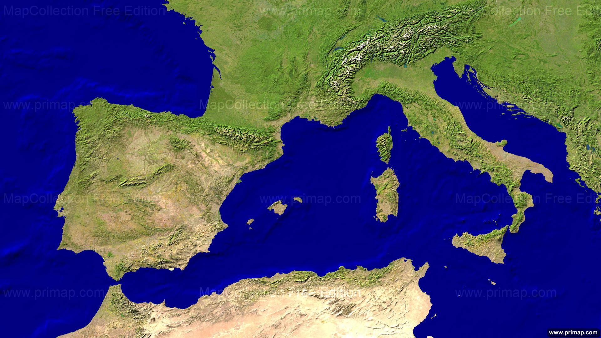 Primap Continental Maps - World map satellite hd
