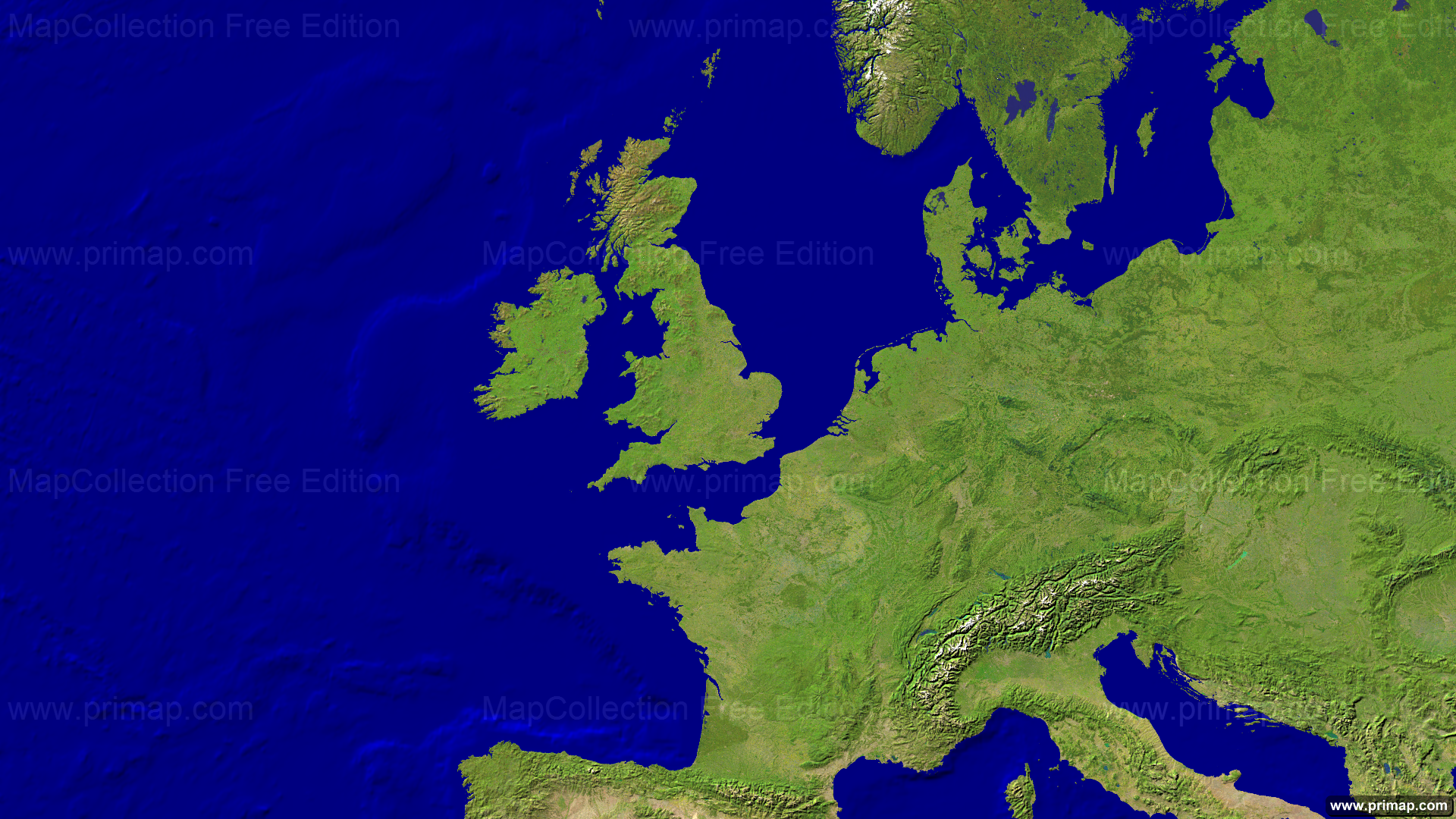Map Of Europe West.Primap Continental Maps