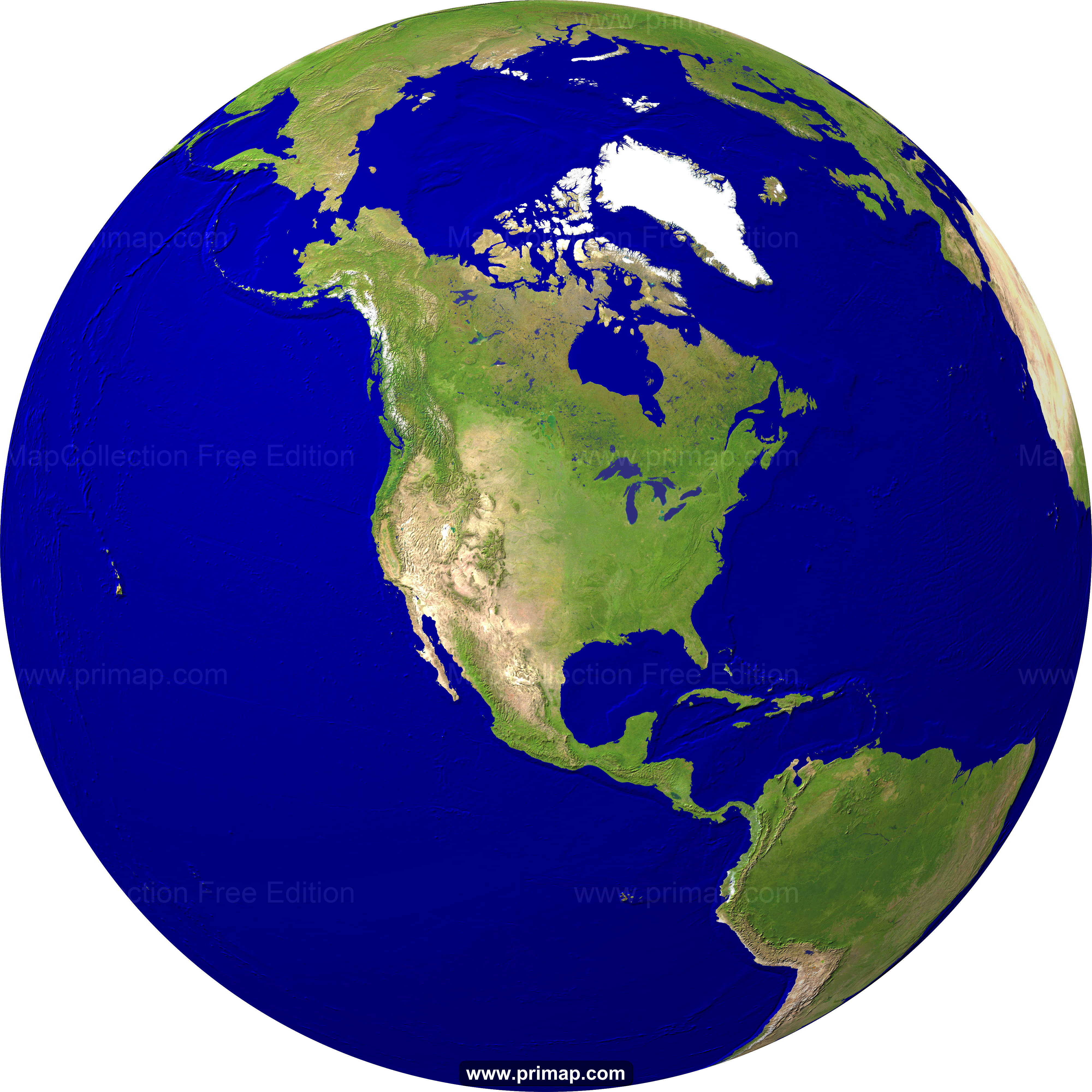 Primap World Maps - Globe of usa