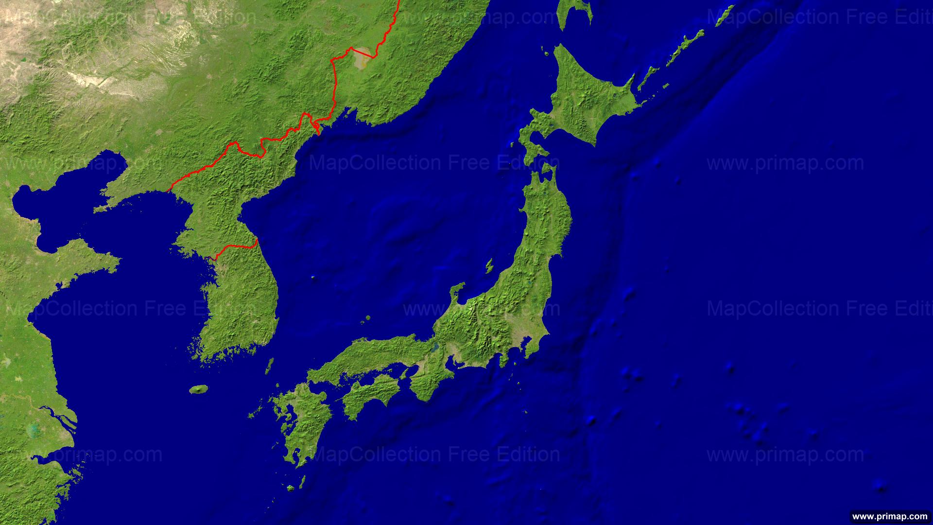 Japan Satellite Borders 1920x1080
