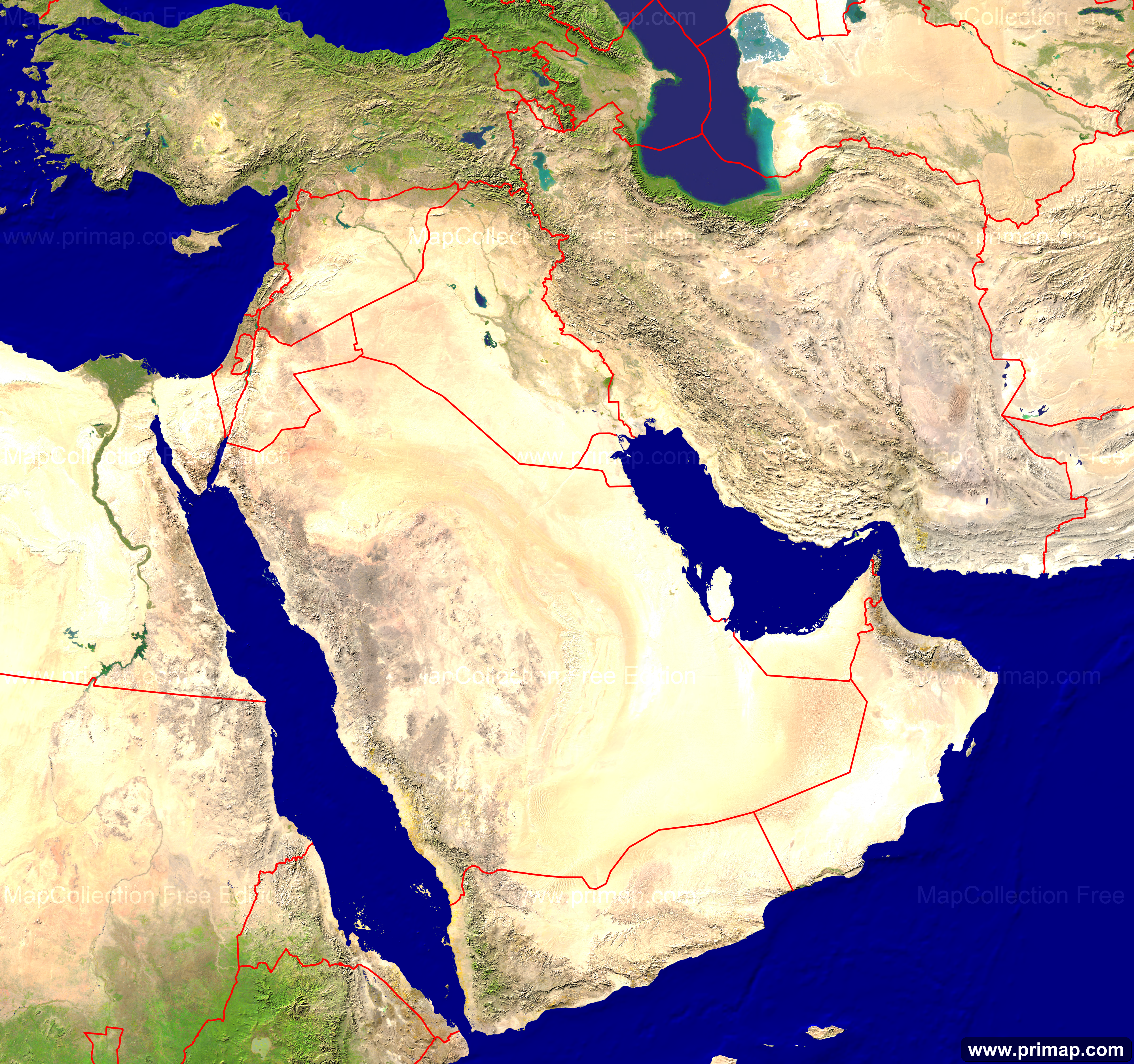 Primap National Maps - Middle east satellite map
