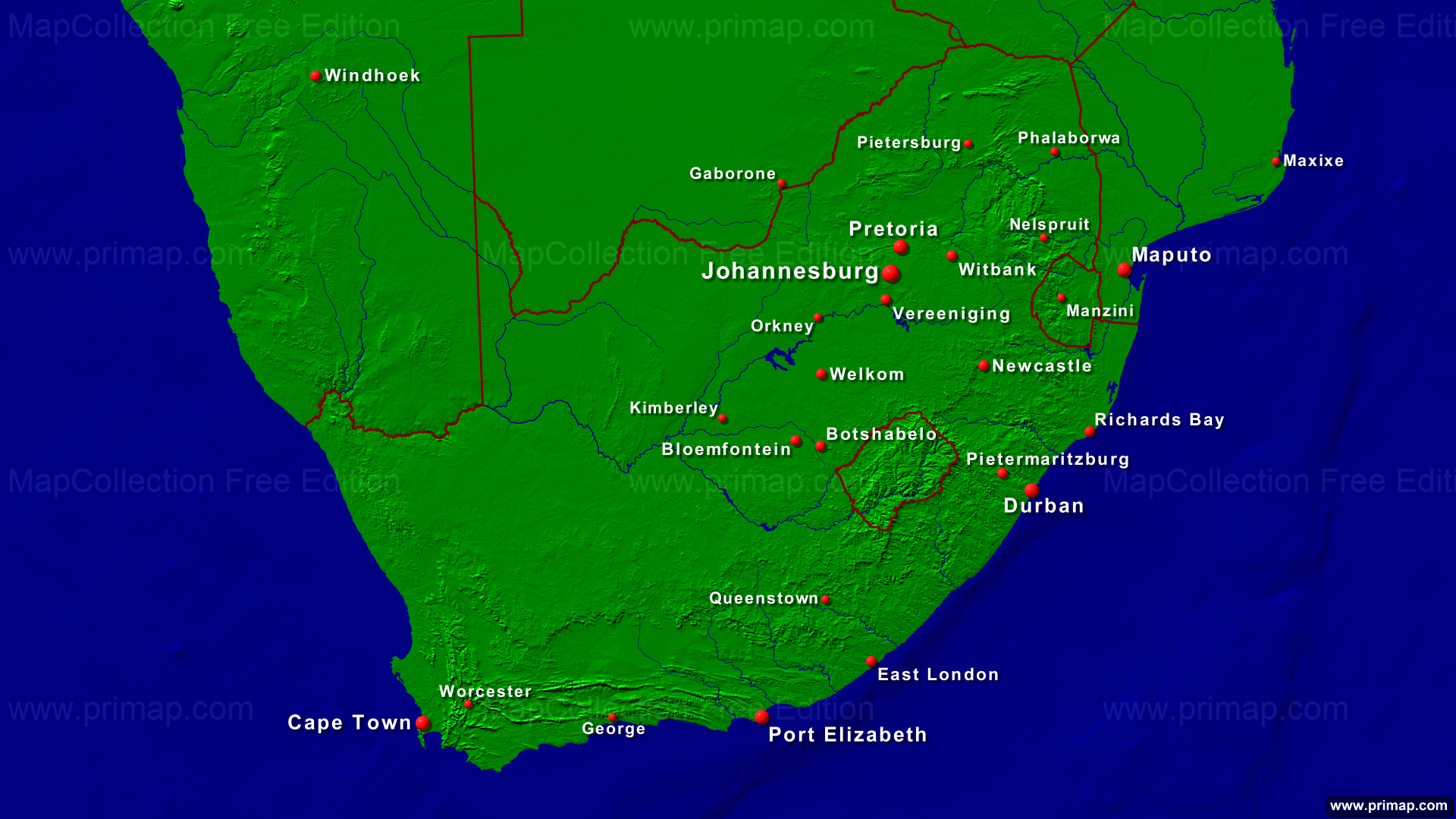 south africa map of towns