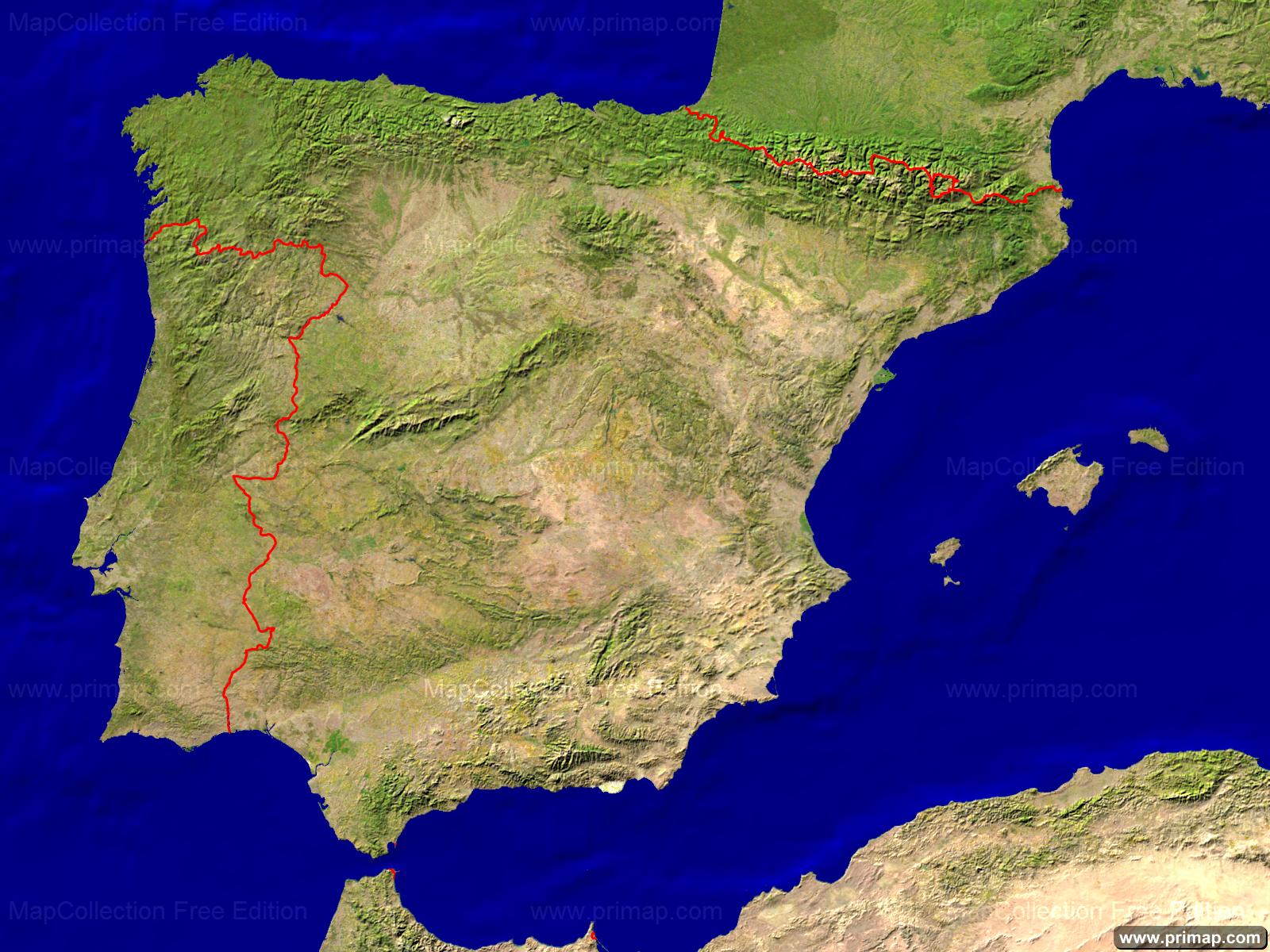 Satellite Map Of Spain.Primap National Maps