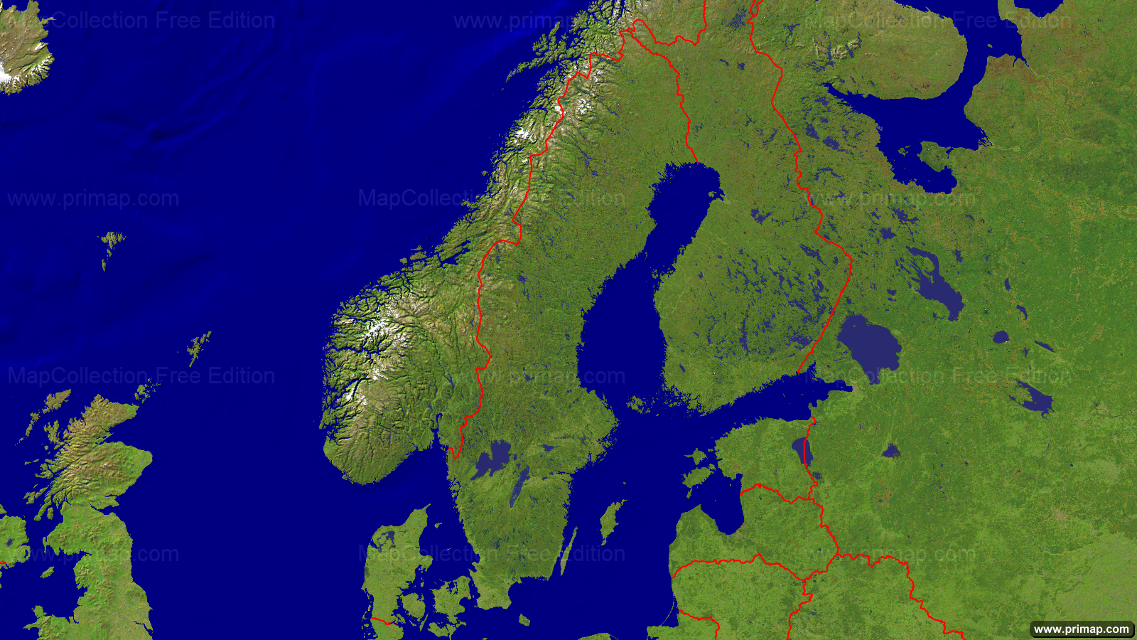 Primap National Maps - Sweden map satellite
