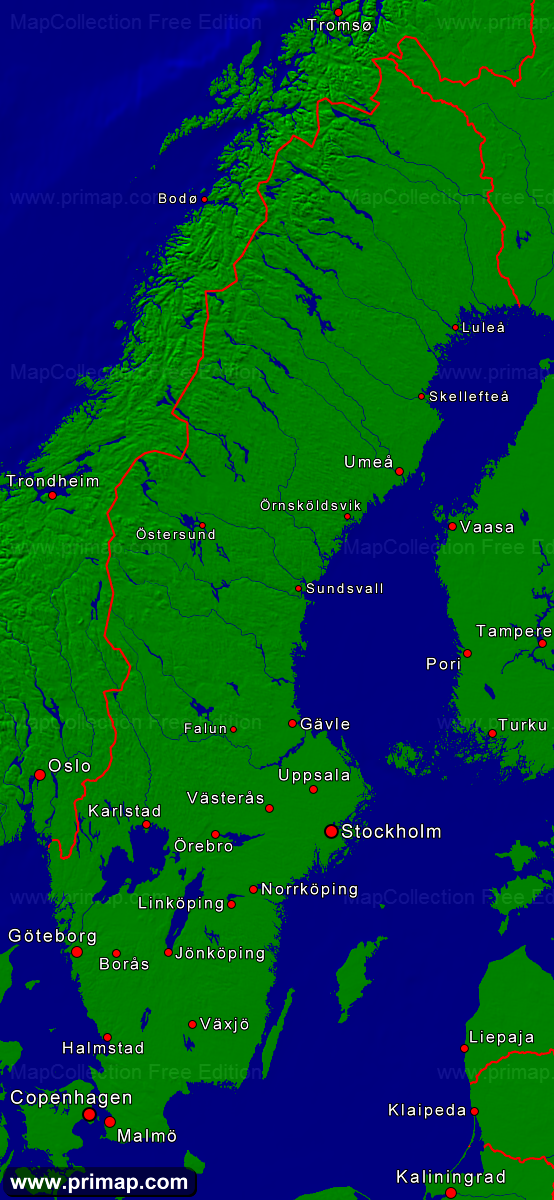 Primap National Maps - Sweden map towns