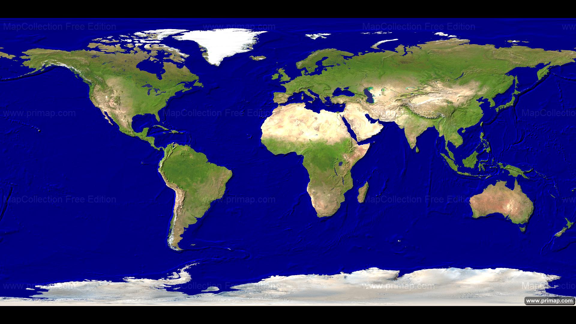 Primap World Maps - World satellite earth map