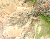 Afghanistan Satellite + Borders 1200x948