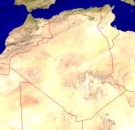 Algeria Satellite + Borders 1000x954