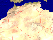 Algeria Satellite + Borders 1600x1200