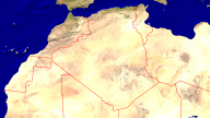 Algeria Satellite + Borders 1920x1080