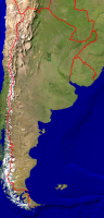 Argentinia Satellite + Borders 385x800