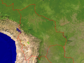 Bolivia Satellite + Borders 1600x1200