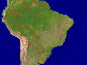 Brazil Satellite + Borders 1600x1200