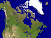 Canada Satellite + Borders 1600x1200
