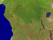 Congo Satellite + Borders 1600x1200