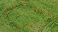 Czech Republic Satellite + Borders 800x450