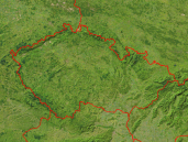 Czech Republic Satellite + Borders 800x600