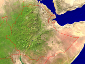 Ethiopia Satellite + Borders 1600x1200
