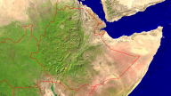 Ethiopia Satellite + Borders 1920x1080