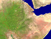 Ethiopia Satellite + Borders 3200x2493