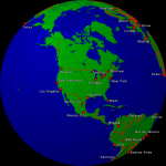 Globe (USA-centered) Towns + Borders 1000x1000