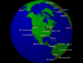 Globe (USA-centered) Towns + Borders 1600x1200