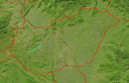 Hungary Satellite + Borders 1000x647