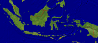Indonesia Satellite + Borders 4000x1776