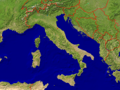 Italy Satellite + Borders 1600x1200