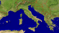 Italy Satellite + Borders 1600x900