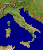 Italy Satellite + Borders 681x800