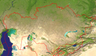 Kazakhstan Satellite + Borders 1000x586