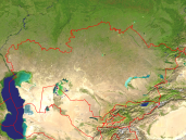 Kazakhstan Satellite + Borders 1600x1200