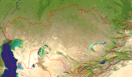 Kazakhstan Satellite + Borders 2000x1171