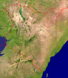 Kenia Satellite + Borders 695x800
