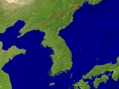 Korea Satellite + Borders 1200x900