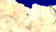 Libya Satellite + Borders 1920x1080
